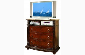 Palace Rich Brown Marble Top Tv Chest