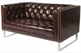 Bordeaux Cranberry Leather Loveseat