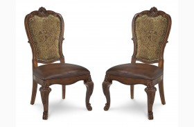 Old World Upholstered Back Side Chair Set of 2