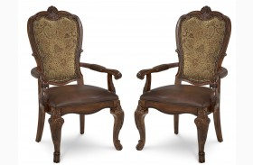 Old World Upholstered Back Arm Chair Set of 2