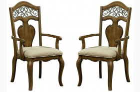 Monterey Caramel Brown Pine Arm Chair Set of 2