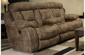Desmond Mushroom Power Reclining Loveseat with Console