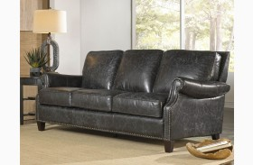 Nathan Charcoal Leather Sofa
