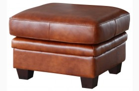 Aberdeen Auburn Top Grain Leather Ottoman