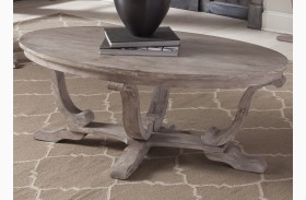 Greystone Mill Stone Whitewash Oval Cocktail Table