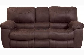 Terrance Chocolate Reclining Console Loveseat