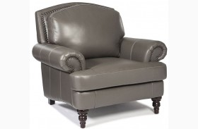 Juliette Battleship Grey Leather Chair