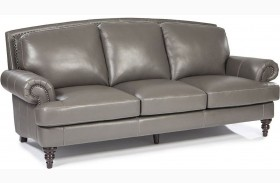 Juliette Battleship Grey Leather Sofa
