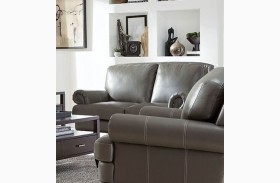 Juliette Battleship Grey Leather Loveseat
