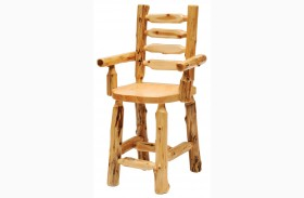 Cedar Ladder Back Counter Height Log Arm Chair