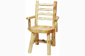Cedar Ladder Back Log Arm Chair