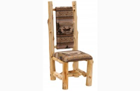 Cedar Upholstered High Back Log Side Chair