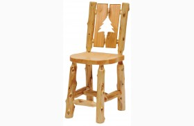 Cedar Cut-Out Pine Tree Counter Height Log Arm Chair