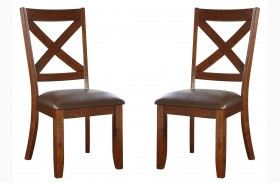 Omaha Burnished Saddle Brown X-Back Side Chair Set of 2