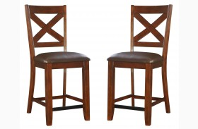 Omaha Burnished Saddle Brown X-Back Counter Height Barstool Set of 2