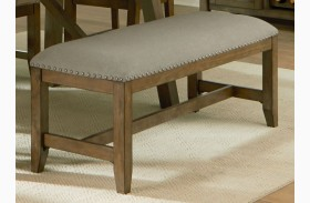 Omaha Weathered Burnished Grey Upholstered Bench