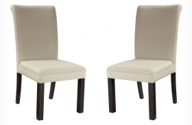 Gateway Brown and White Parsons Upholstered Chair Set of 2