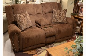 Stafford Caramel Power Reclining Loveseat with Console