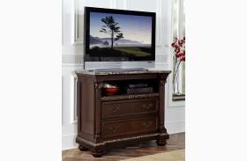 Russian Hill Warm Cherry Faux Marble Top Tv Chest