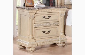 Russian Hill Antique White Faux Marble Top Nightstand