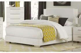 Linnea White High Gloss Vinyl Full Platform Bed