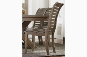 Bayside Crossing Washed Chestnut Slat Back Side Chair Set of 2
