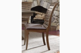 Bayside Crossing Washed Chestnut Upholstered Side Chair Set of 2