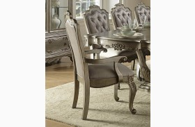 Florentina Gold Faux Silk Arm Chair Set of 2