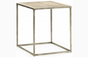 Modern Basics Natural Travertine Rectangular End Table
