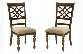 Woodmont Brown Cherry Upholstered Side Chair Set of 2