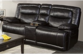 Torino Premier Black Power Reclining Loveseat with Console