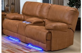 Montana Canyon Brown Power Reclining Lighted Loveseat with Console