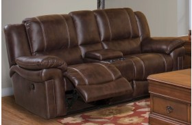 Hastings Summit Brown Power Reclining Loveseat with Console