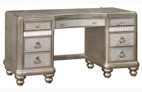 Bling Game Metallic Platinum Vanity Desk