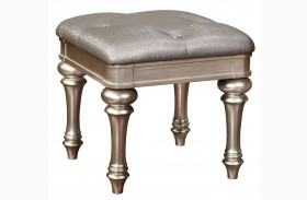 Bling Game Metallic Platinum Vanity Stool