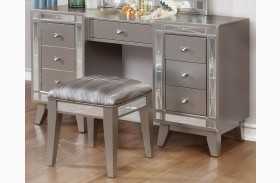 Leighton Metallic Mercury Vanity Desk and Stool