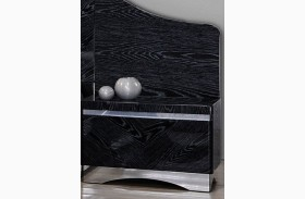 Alessandro Glossy Black Nightstand With Back Panel