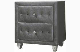 Deanna Grey Velvet With Metallic Legs Queen Platform Bed