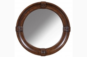 Whiskey Barrel Oak Round Mirror