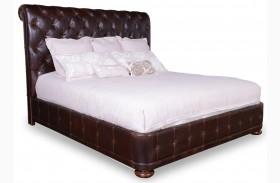Whiskey Barrel Oak Queen Upholstered Platform Bed