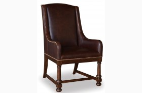 Whiskey Barrel Oak Leather Arm Chair