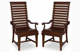 Whiskey Barrel Oak Slat-Back Arm Chair Set of 2