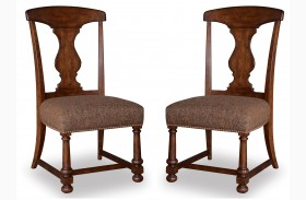 Whiskey Barrel Oak Splat-Back Side Chair Set of 2