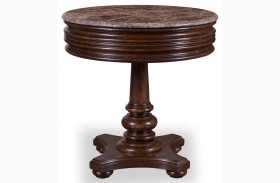 Whiskey Barrel Oak Round Lamp Table