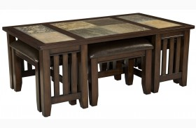 Napa Valley Brown Oak Cocktail Table With 4 Stools