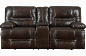 Overland Chocolate Leather Power Reclining Console Loveseat
