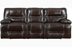 Overland Chocolate Leather Power Reclining Sofa