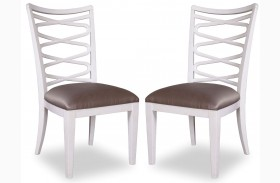 Cosmopolitan Parchment Ribbon Back Side Chair Set of 2