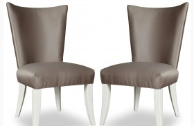 Cosmopolitan Parchment Upholstered Side Chair Set of 2