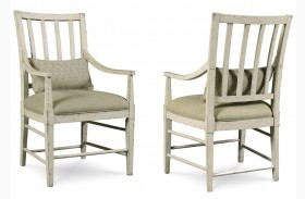 Echo Park Aged Canvas Slat Back Arm Chair Set of 2